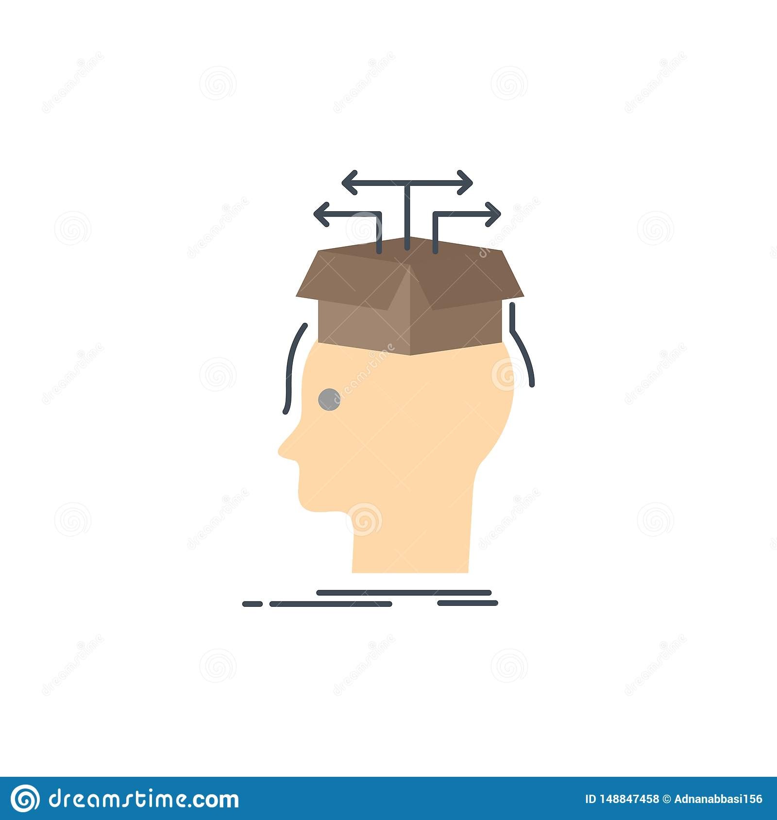 Data Extraction Head Knowledge Sharing Flat Color Icon Vector Stock Vector Illustration Of Reflection Rock 148847458