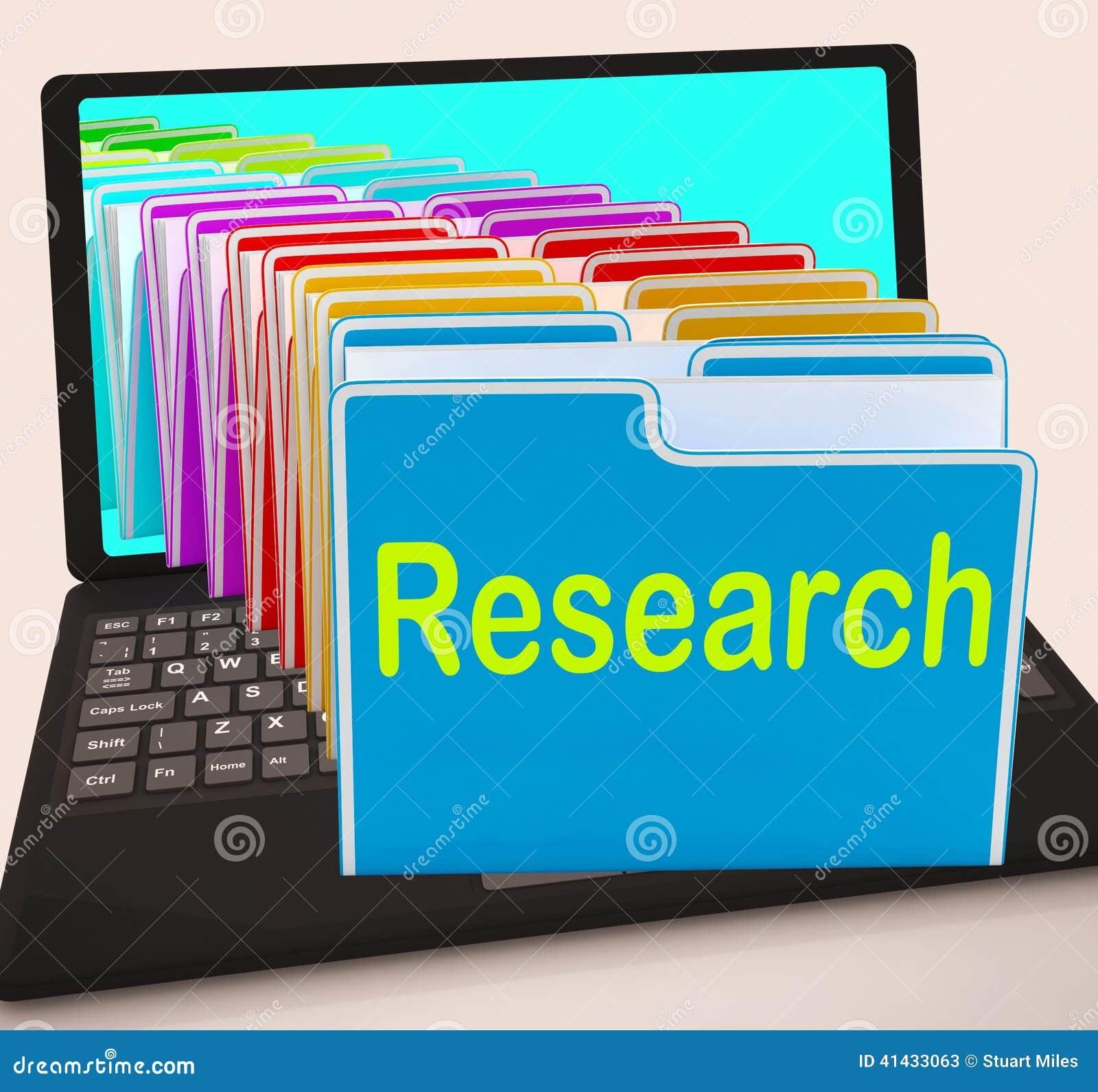 Data för utredning för medel för forskningmappbärbar dator annalkande och