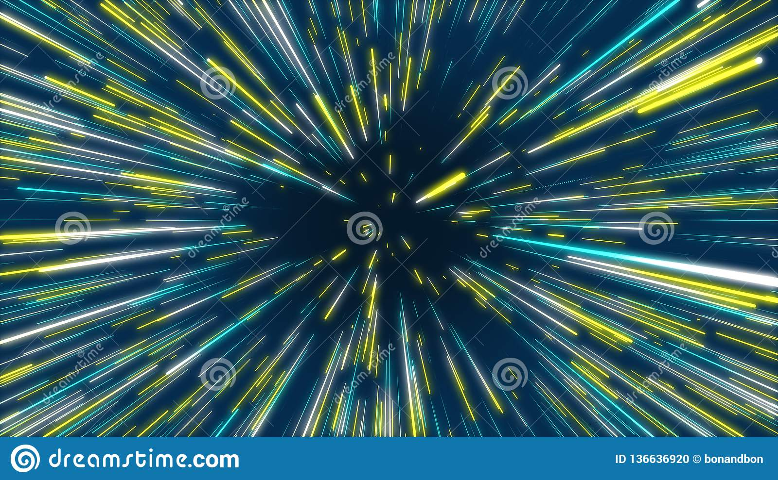 Blue and yellow abstract tunnel radial lines effect background