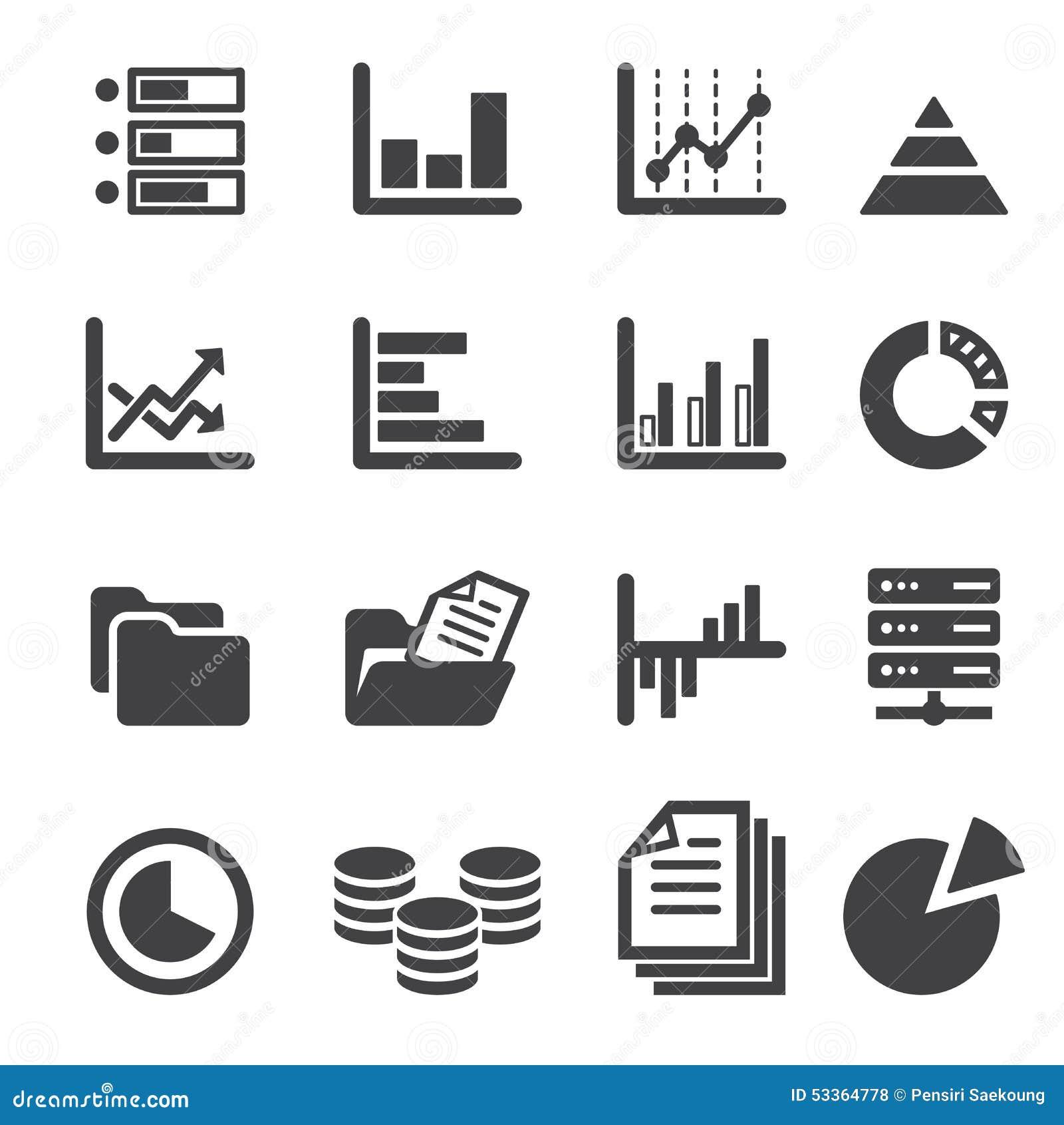 data icon set stock vector  image of file  black  line