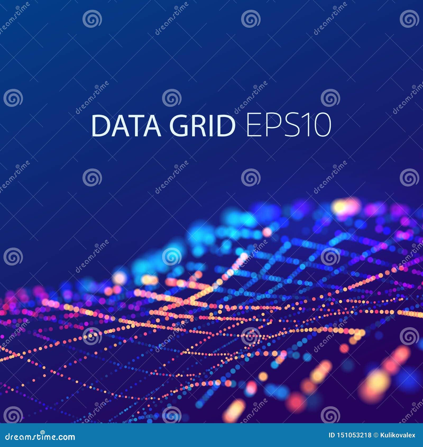 Data kopplar ihop anslutning futuristic bakgrund 3d Färgrik våg för energi