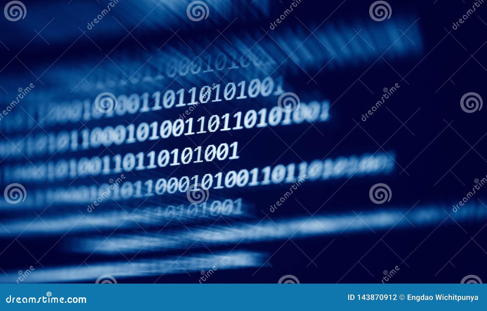 Data nummer 0 och 1 för binär kod för teknologi digitala på blå mörk bakgrund för datorskärm