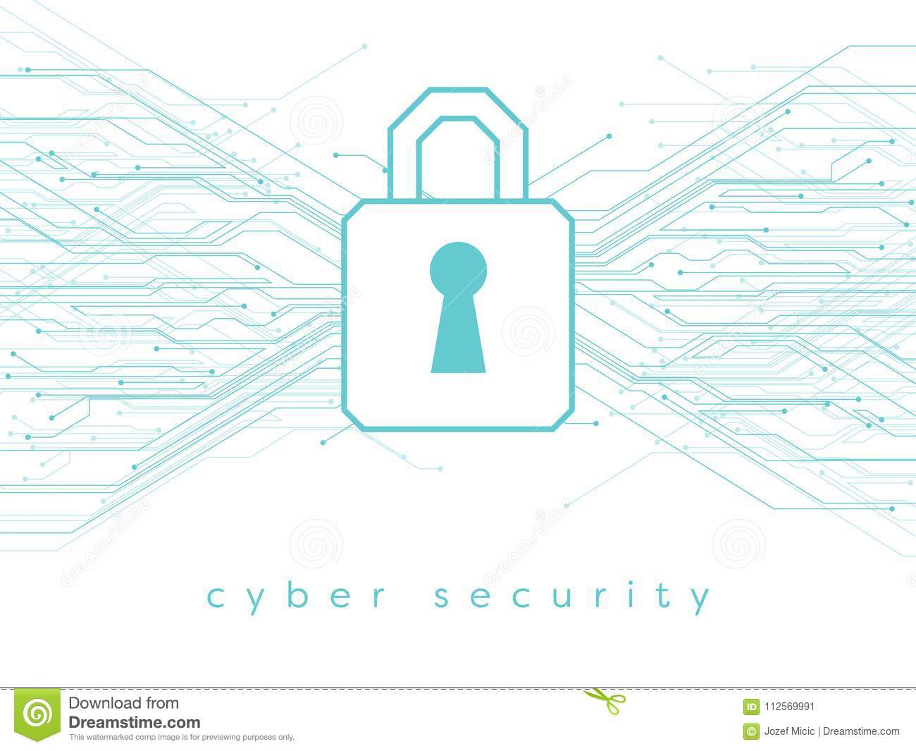 Data, Online, Cyber Security Vector Illustration With Padlock And ...