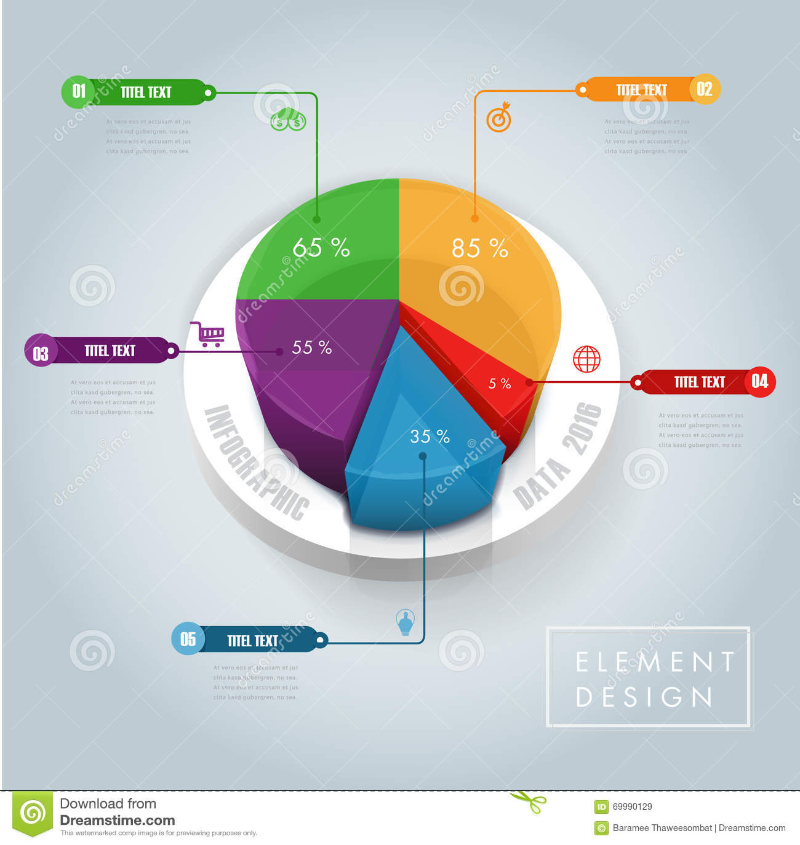 Data Piechart Infographic Element Stock Vector Illustration Of