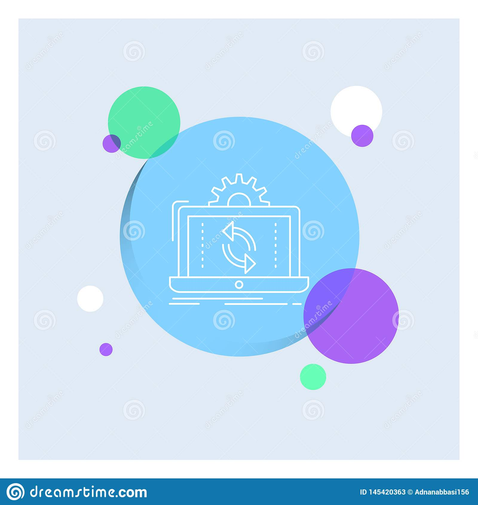 data, processing, Analysis, reporting, sync White Line Icon colorful Circle Background