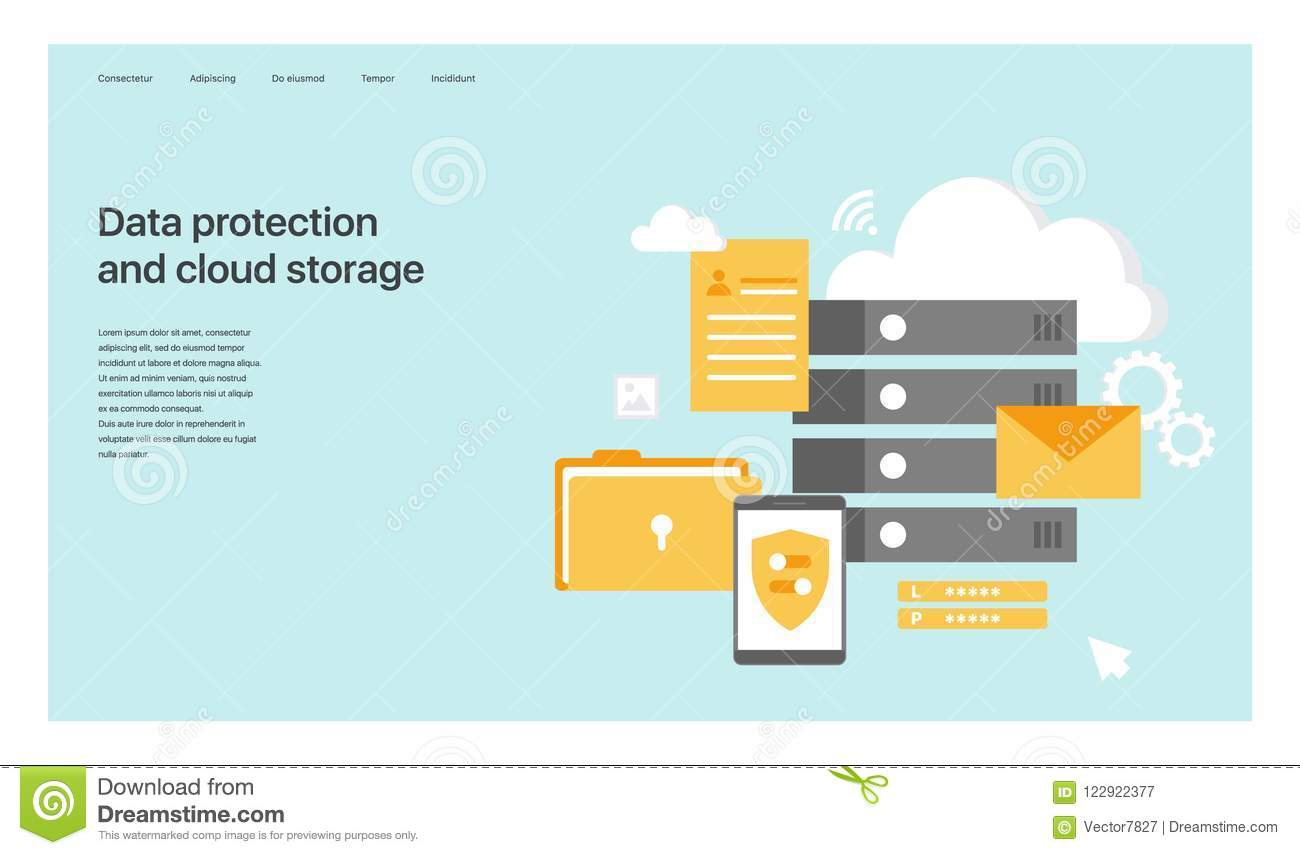 Data Protection And Cloud Storage  Design Of The Main Page Of The
