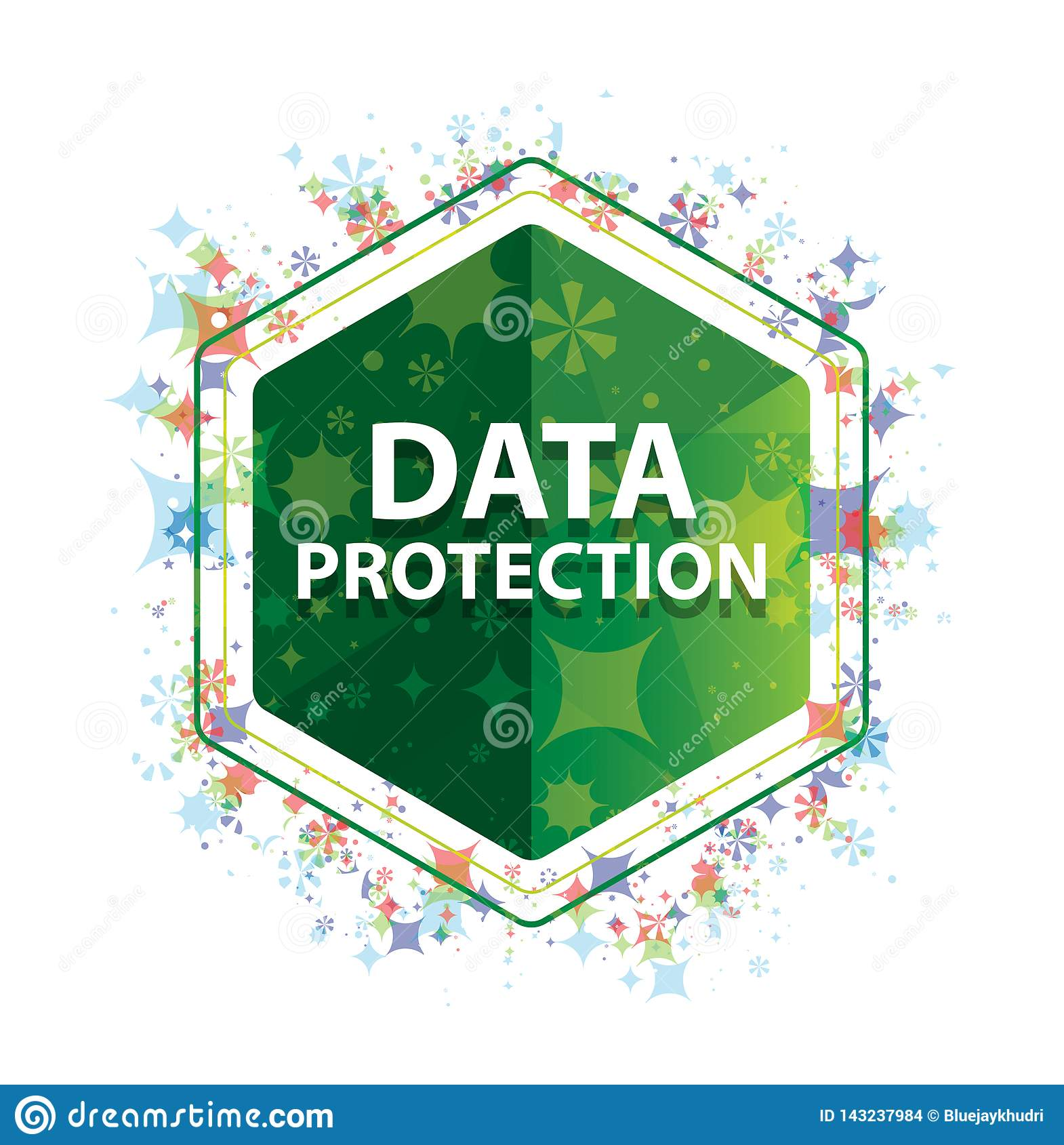 Data Protection floral plants pattern green hexagon button