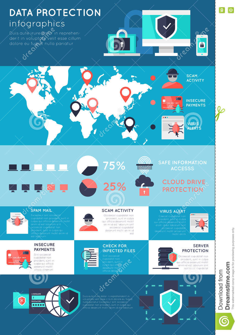 Data Protection Infographics Stock Vector