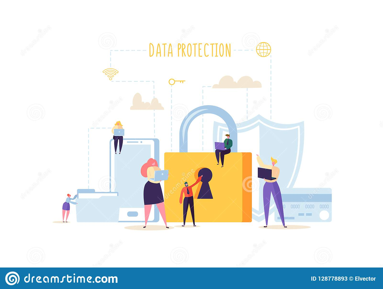 Data Protection Privacy Concept. Confidential and Safe Internet Technologies with Characters Using Computers and Gadgets