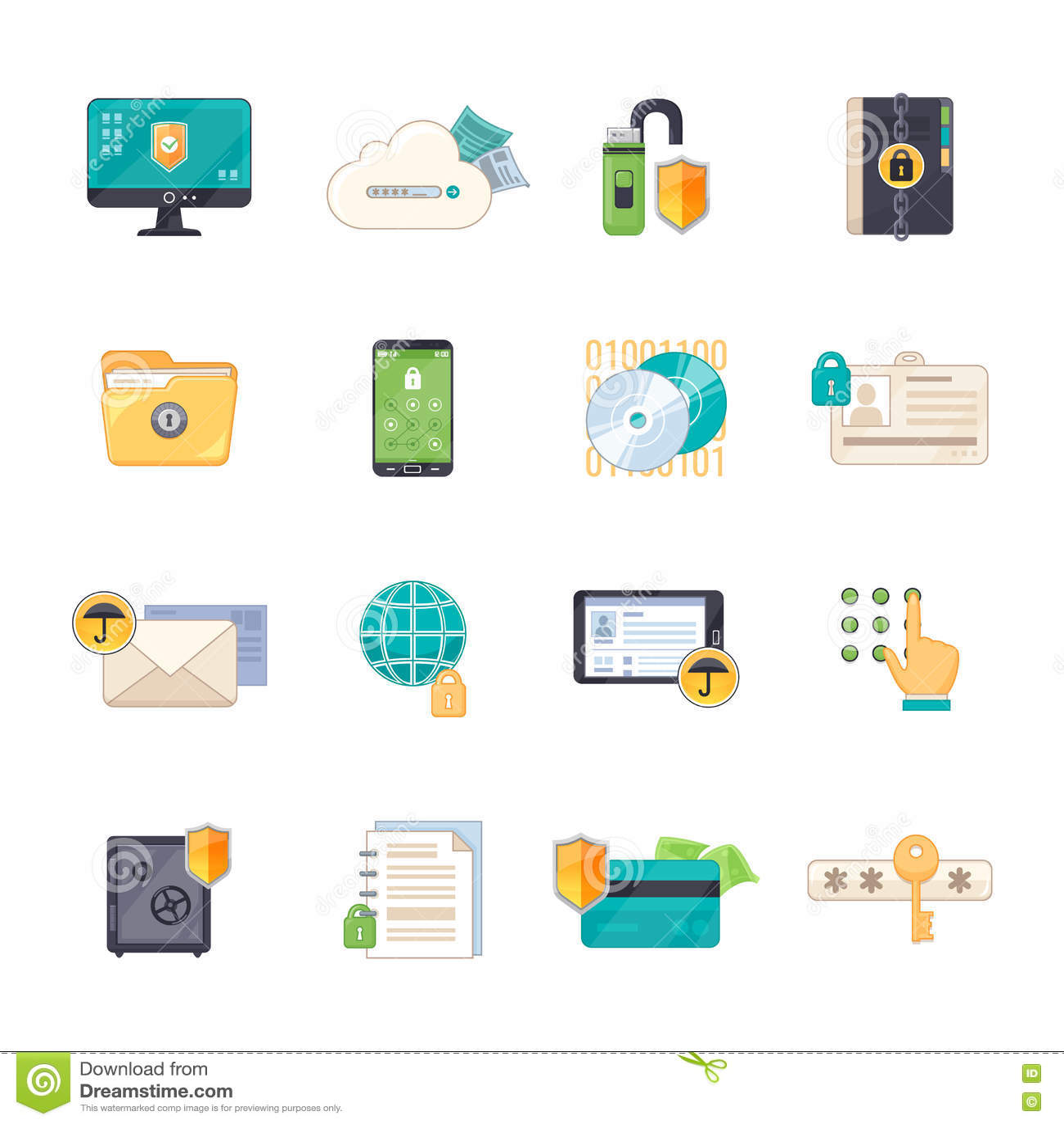 Data protection symbols flat icons set stock vector illustration data protection symbols flat icons set buycottarizona