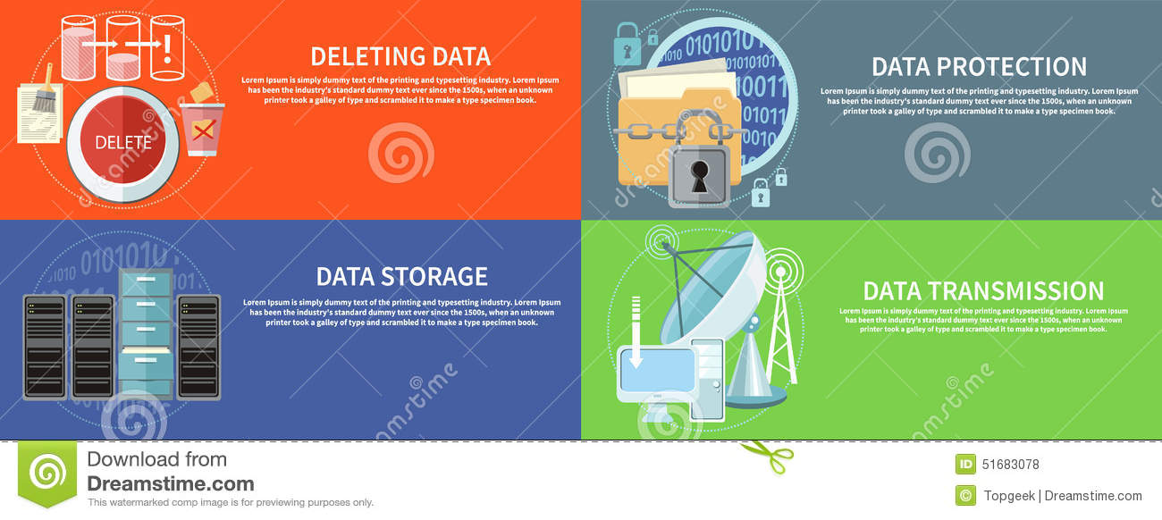 Data Protection, Transmission, Storage And Delete Stock Vector