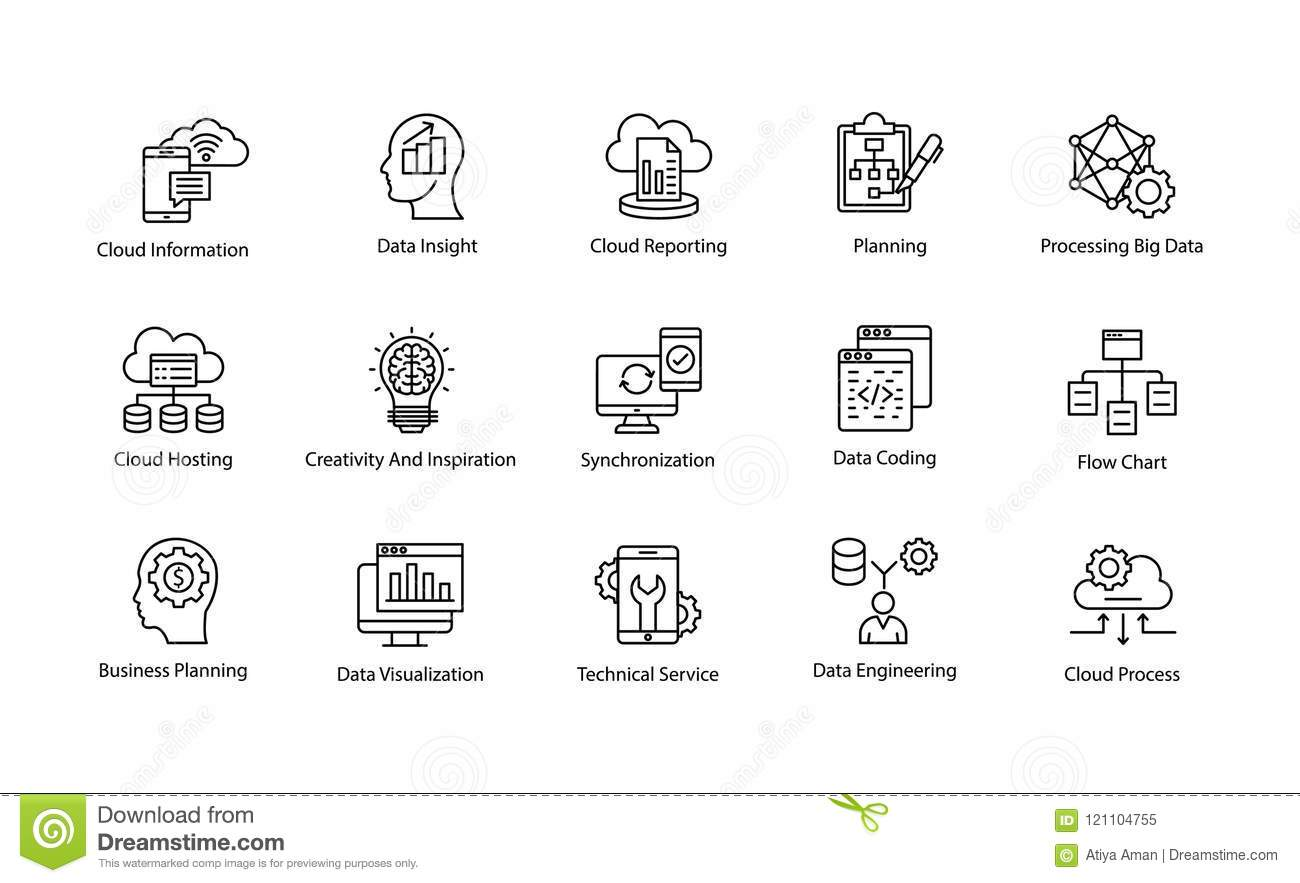Data Science Vector Icons Set