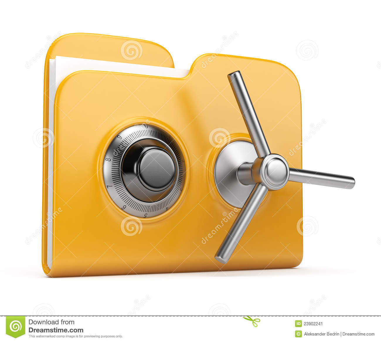Data Security Concept. Folder And Lock 3D Stock Image - Image ...