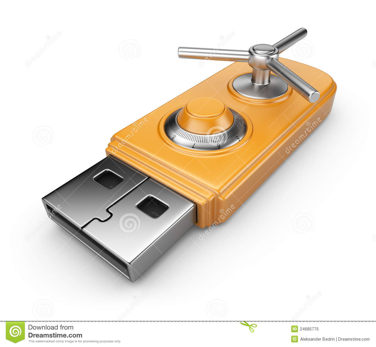 Data security concept. USB flash drive. Isolated