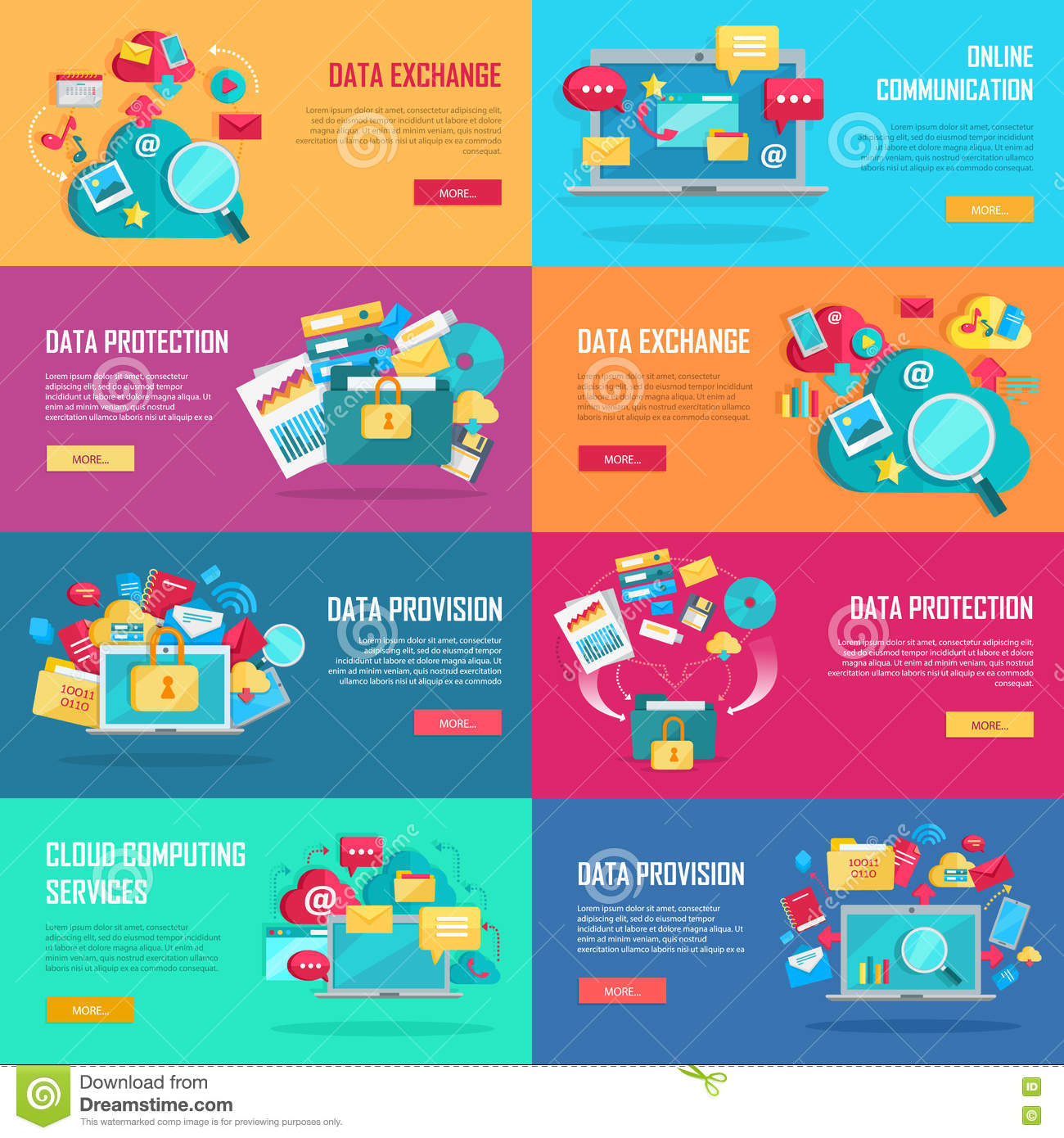 Data Protection Services : Data services banners set stock vector image