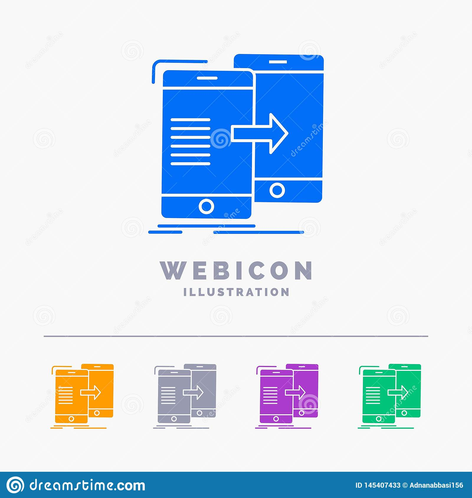 data, Sharing, sync, synchronization, syncing 5 Color Glyph Web Icon Template isolated on white. Vector illustration