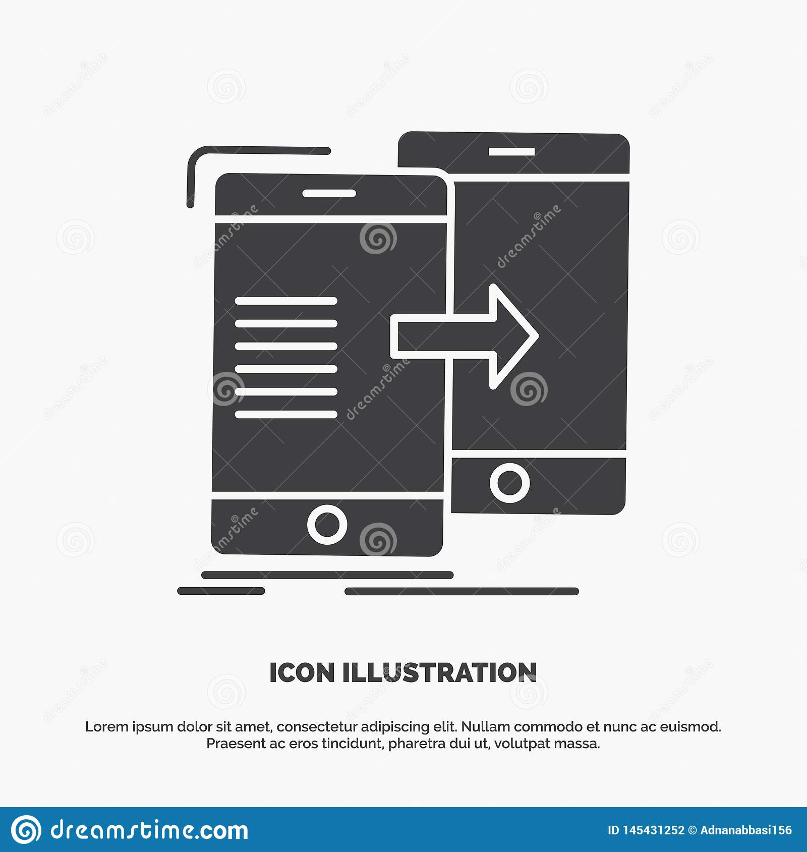 data, Sharing, sync, synchronization, syncing Icon. glyph vector gray symbol for UI and UX, website or mobile application
