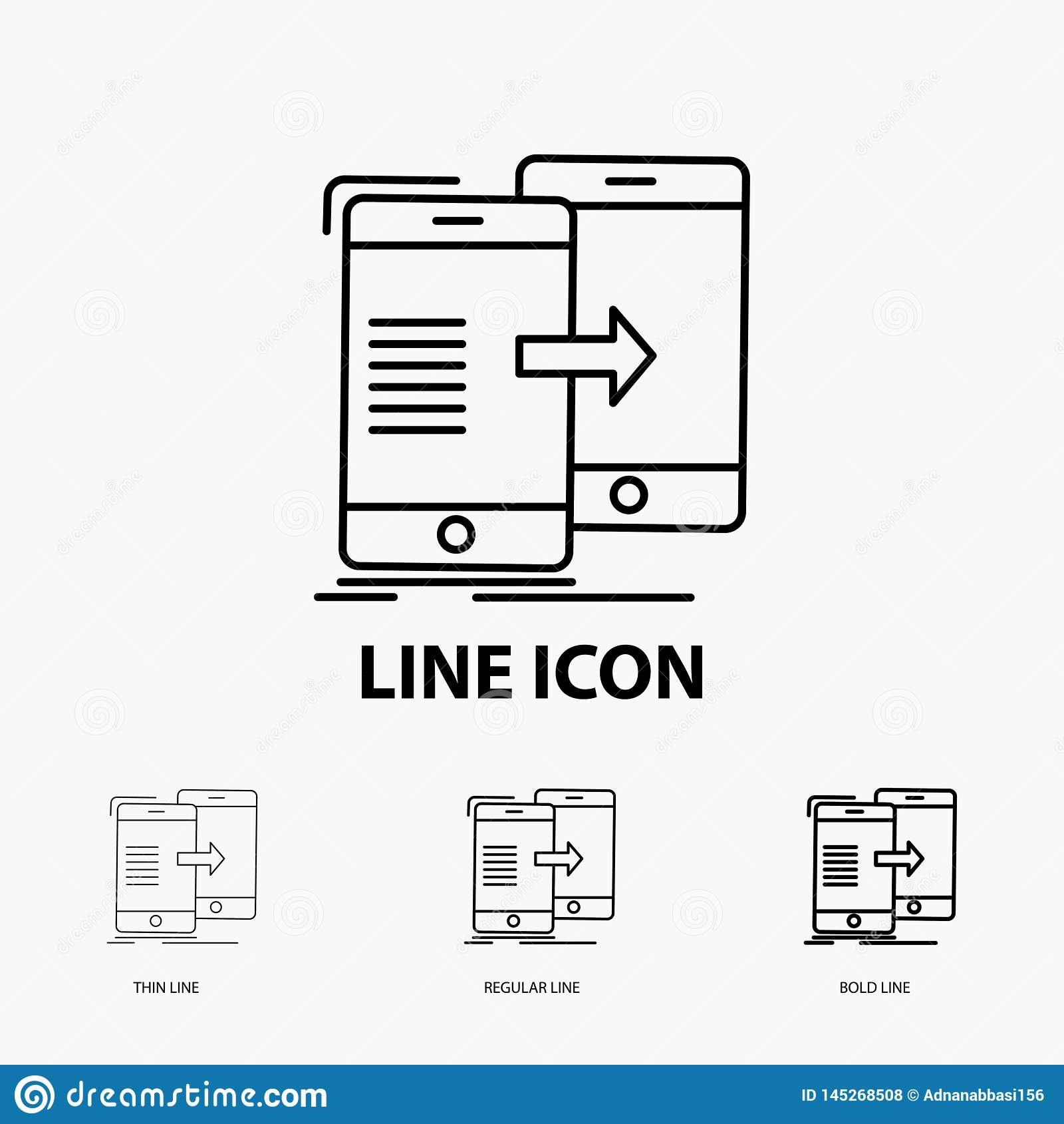 data, Sharing, sync, synchronization, syncing Icon in Thin, Regular and Bold Line Style. Vector illustration