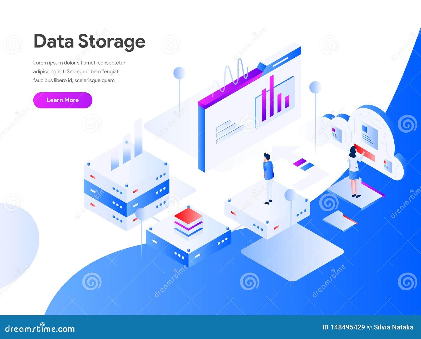 Data Storage Isometric Illustration Concept  Modern Flat