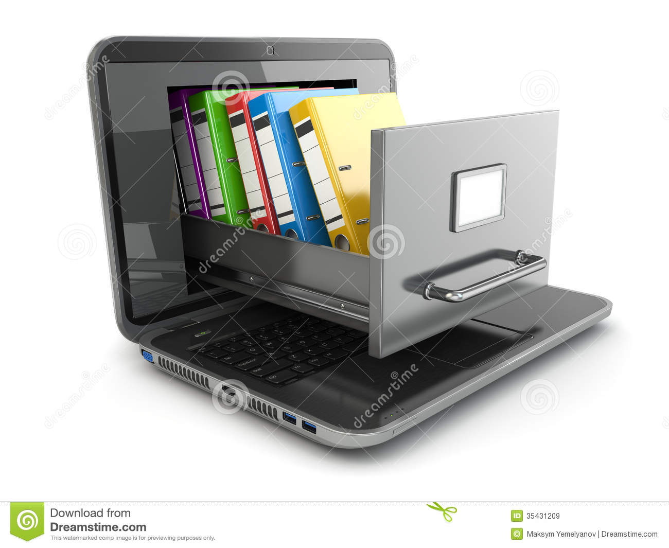 Attractive Laptop And File Cabinet With Ring Binders. Great Ideas
