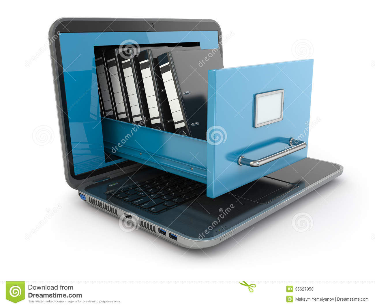Data Storage Laptop And File Cabinet With Ring Binders