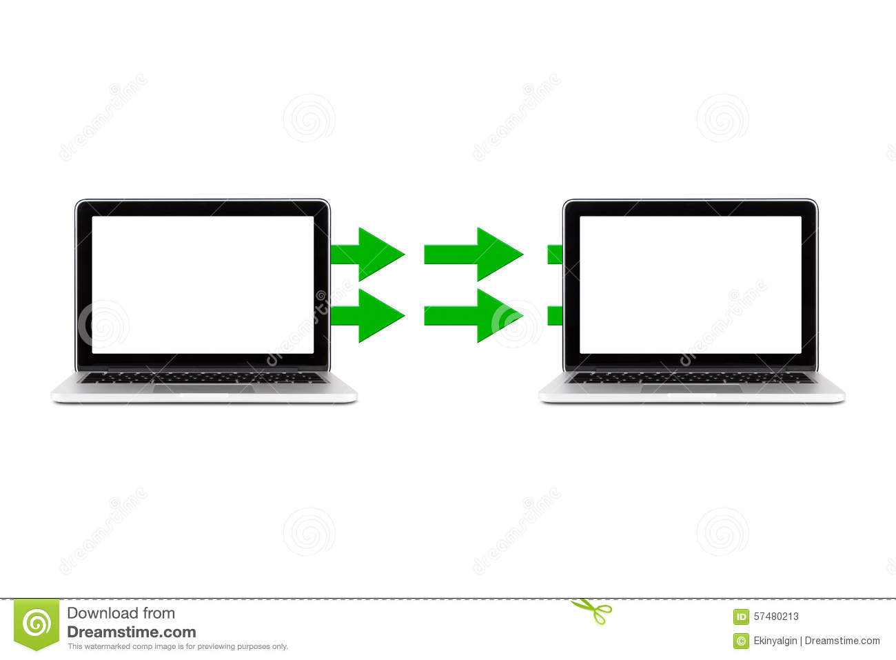 Close up front view of data transfer icon between two notebook ...