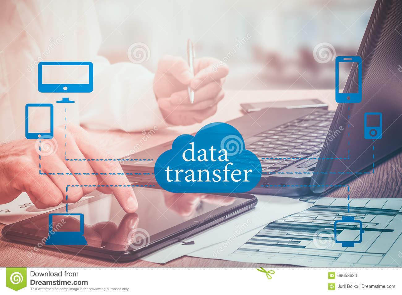 Data Transfer Online Computing Network Internet Connect Concept. Stock Photo - Image of finance