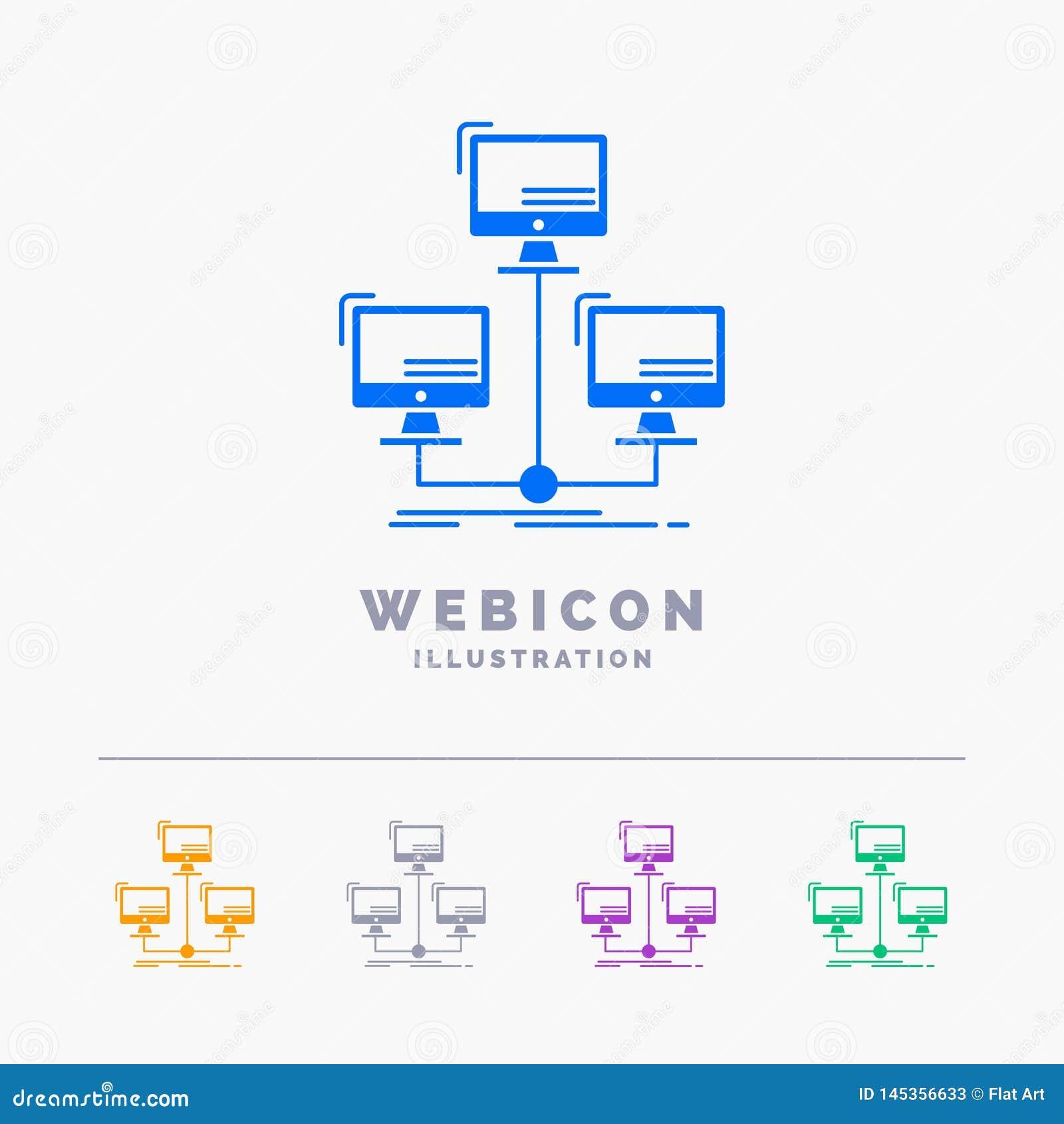 Databas som fördelas, anslutning, nätverk, för färgskåra för dator som 5 mall för symbol för rengöringsduk isoleras på vit ocks?