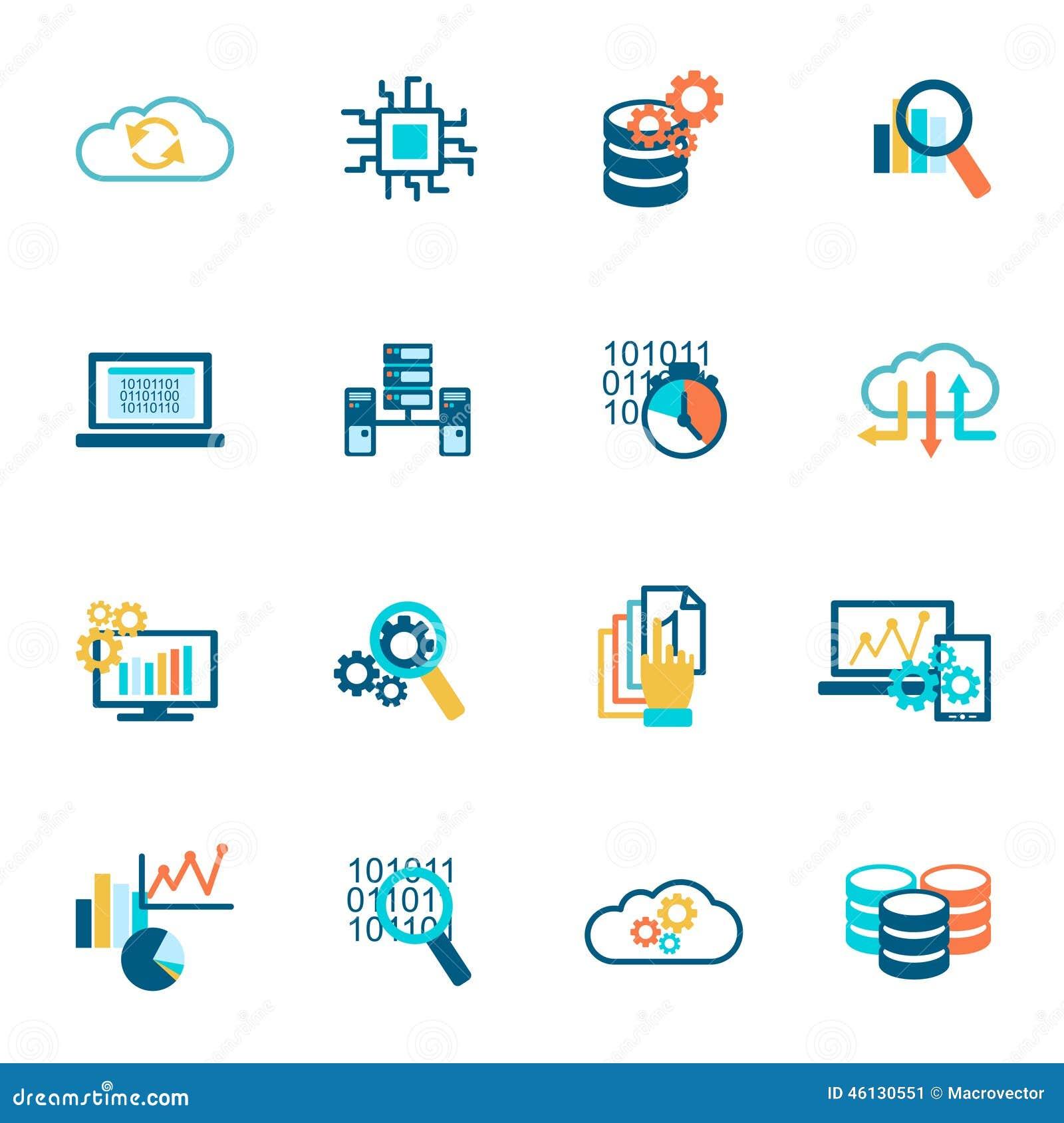 Database Analytics Icons Flat Stock Vector - Illustration of