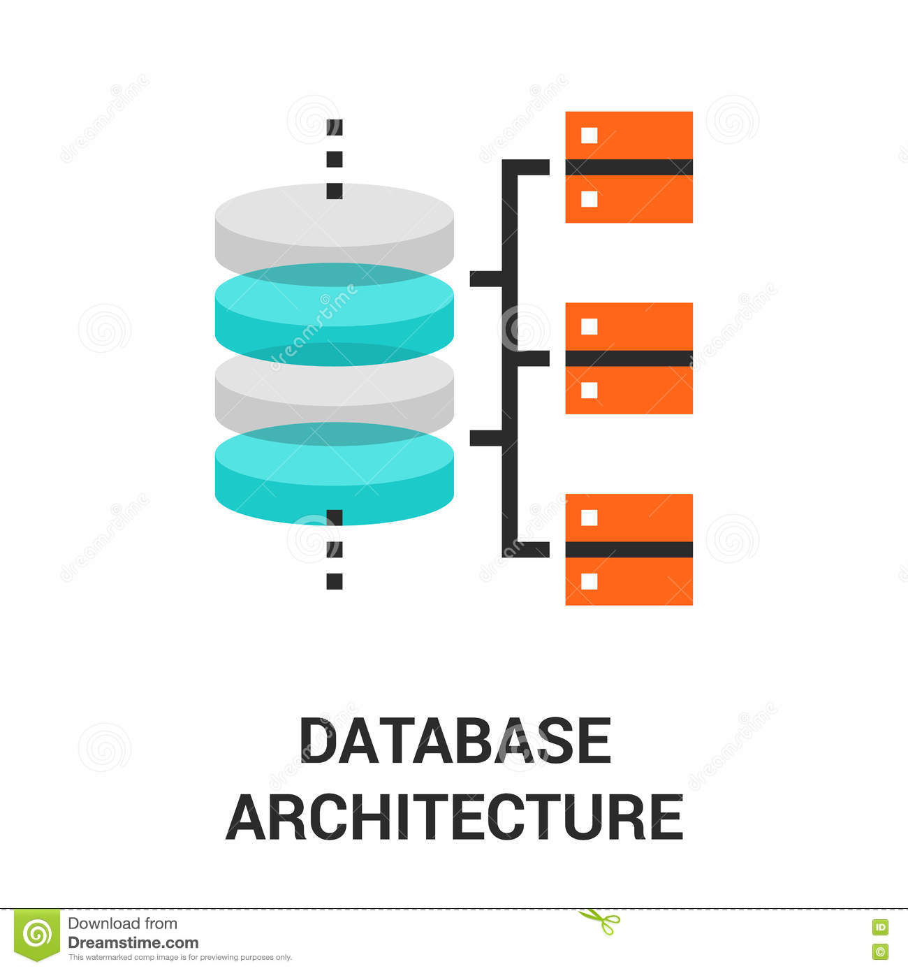 Database Architecture Icon Stock Vector Image Of System