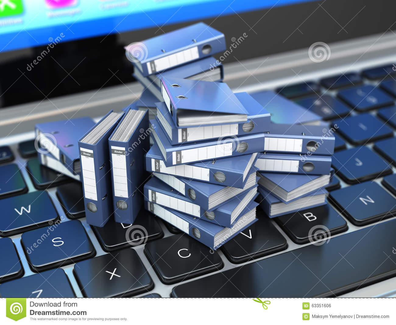 Database Or Archive Concept Data Storage Laptop And File