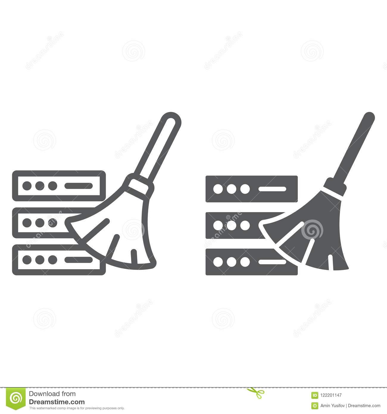 Database Cleaning Line And Glyph Icon Stock Vector
