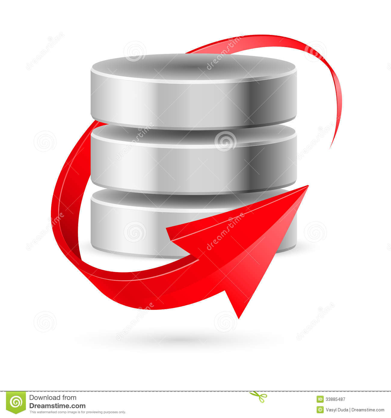Database icon with red curved arrow as update symbol. Illustration on ...