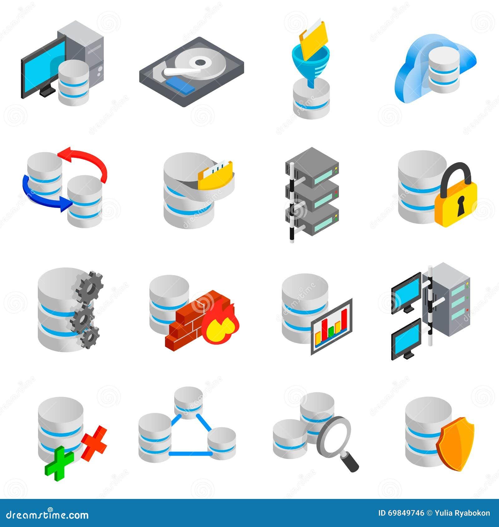 Database icons set stock vector  Illustration of hosting