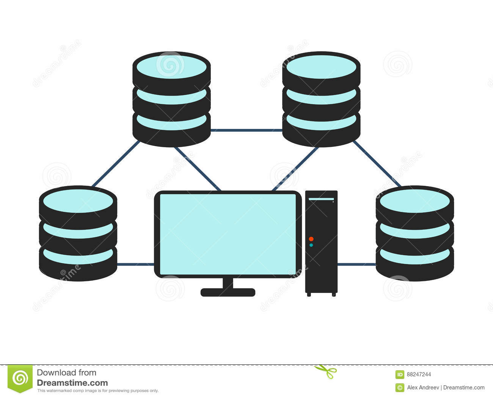 Database Network Icon. Flat Vector Illustration On White ...