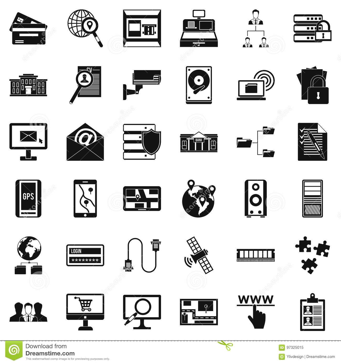 Database Protection Icons Set, Simple Style Stock Vector