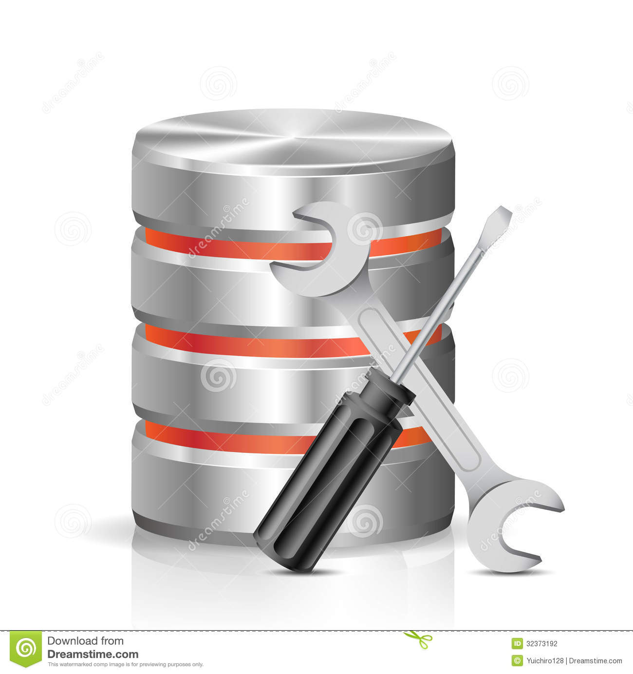 Database With Repair Tools Stock Vector Image Of