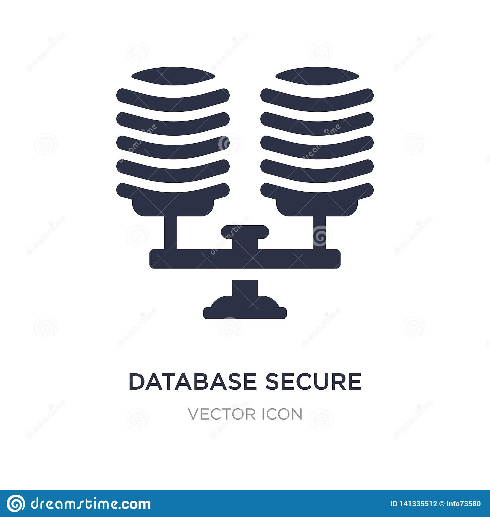 database secure connection icon on white background. Simple element illustration from Technology concept