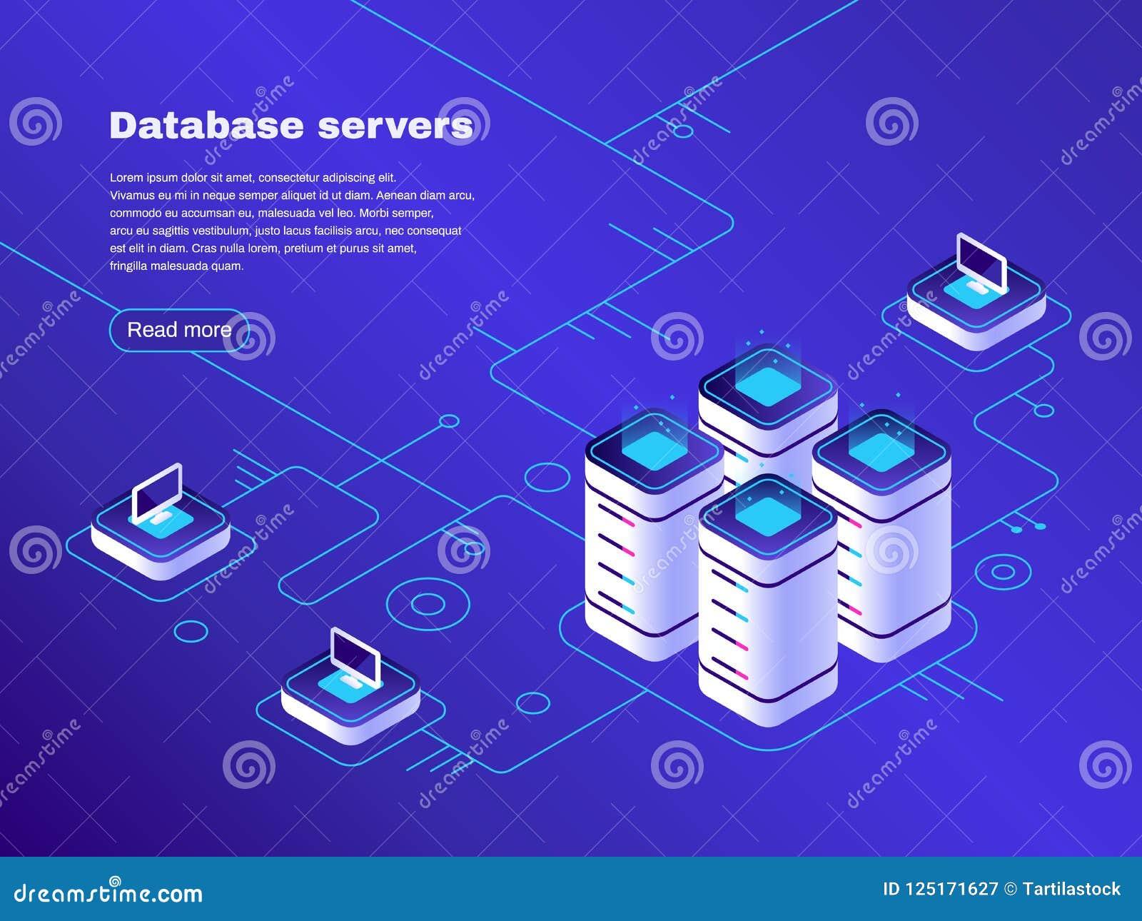 Database servers. Digital datacenter server network. Hosting tech support. Online cloud storage vector isometric