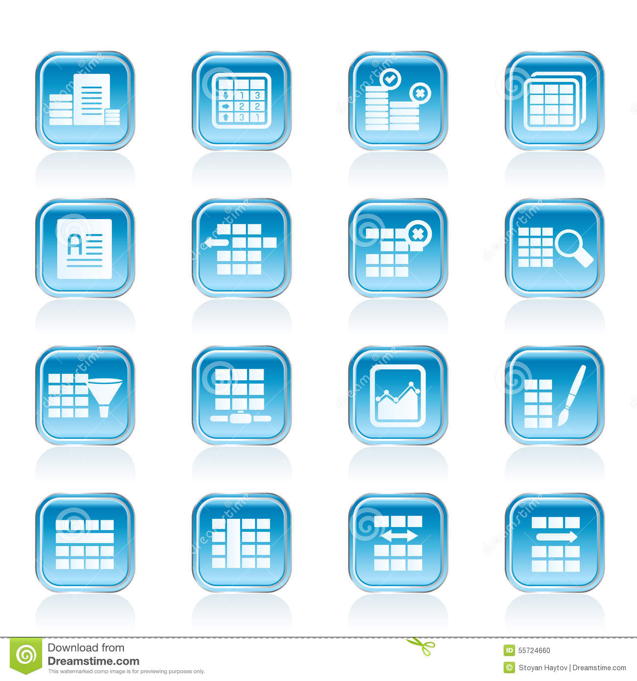 database and table formatting icons stock vector illustration of