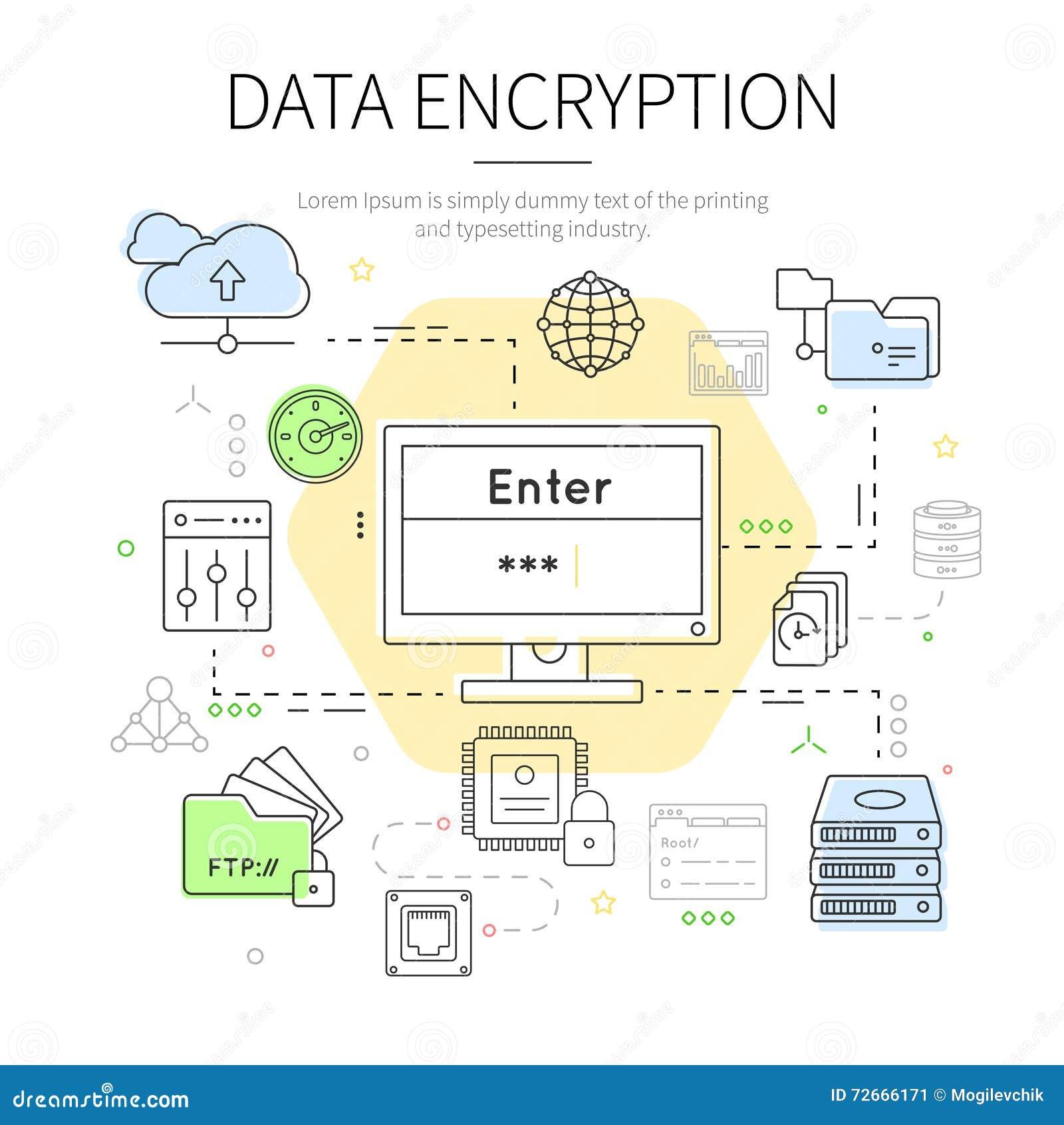 Datacenter färgade illustrationen