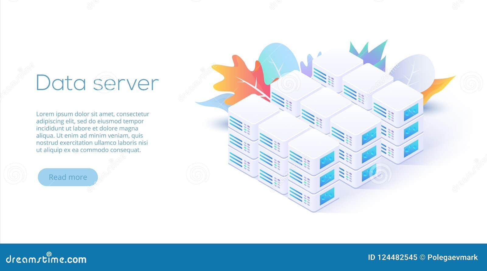 Datacenter isometric wektorowa ilustracja Abstrakt 3d gości se