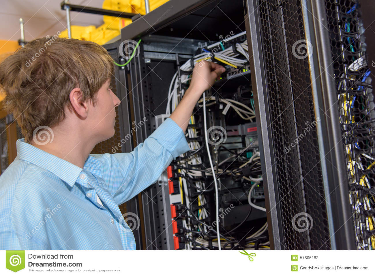 Datacenter Manager Connecting Network Cable Stock Photo Image Of Wiring A Patch Panel To Server