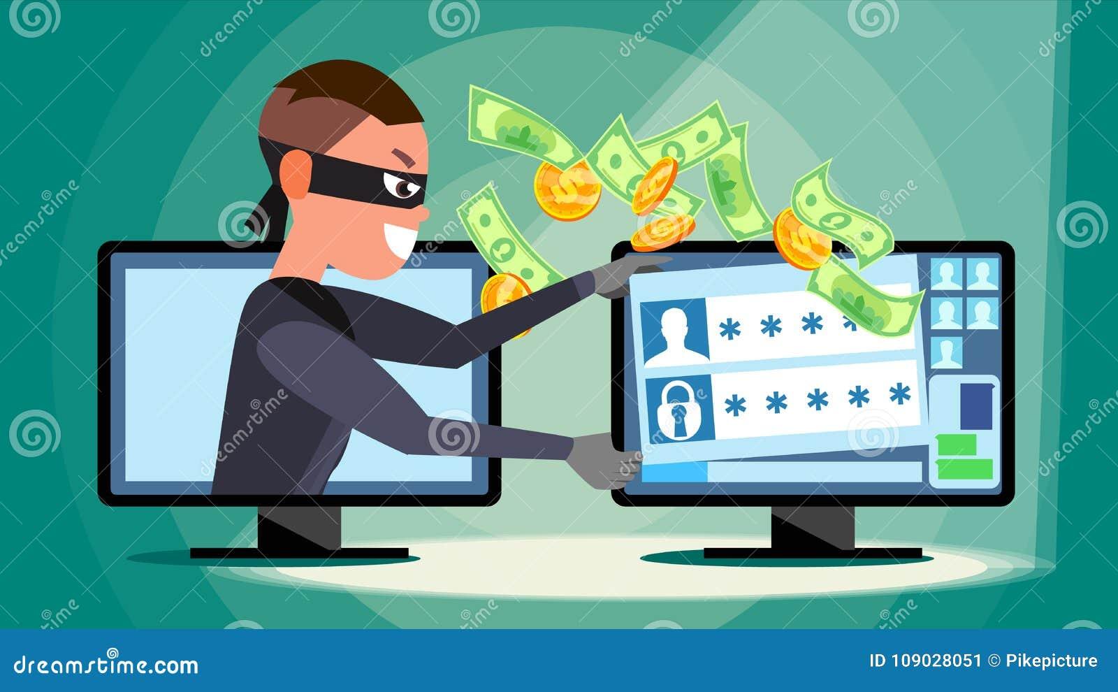 Dataintrångbegreppsvektor En hacker som använder persondatorn som stjäler information om kreditkort, personliga data, pengar Nätv