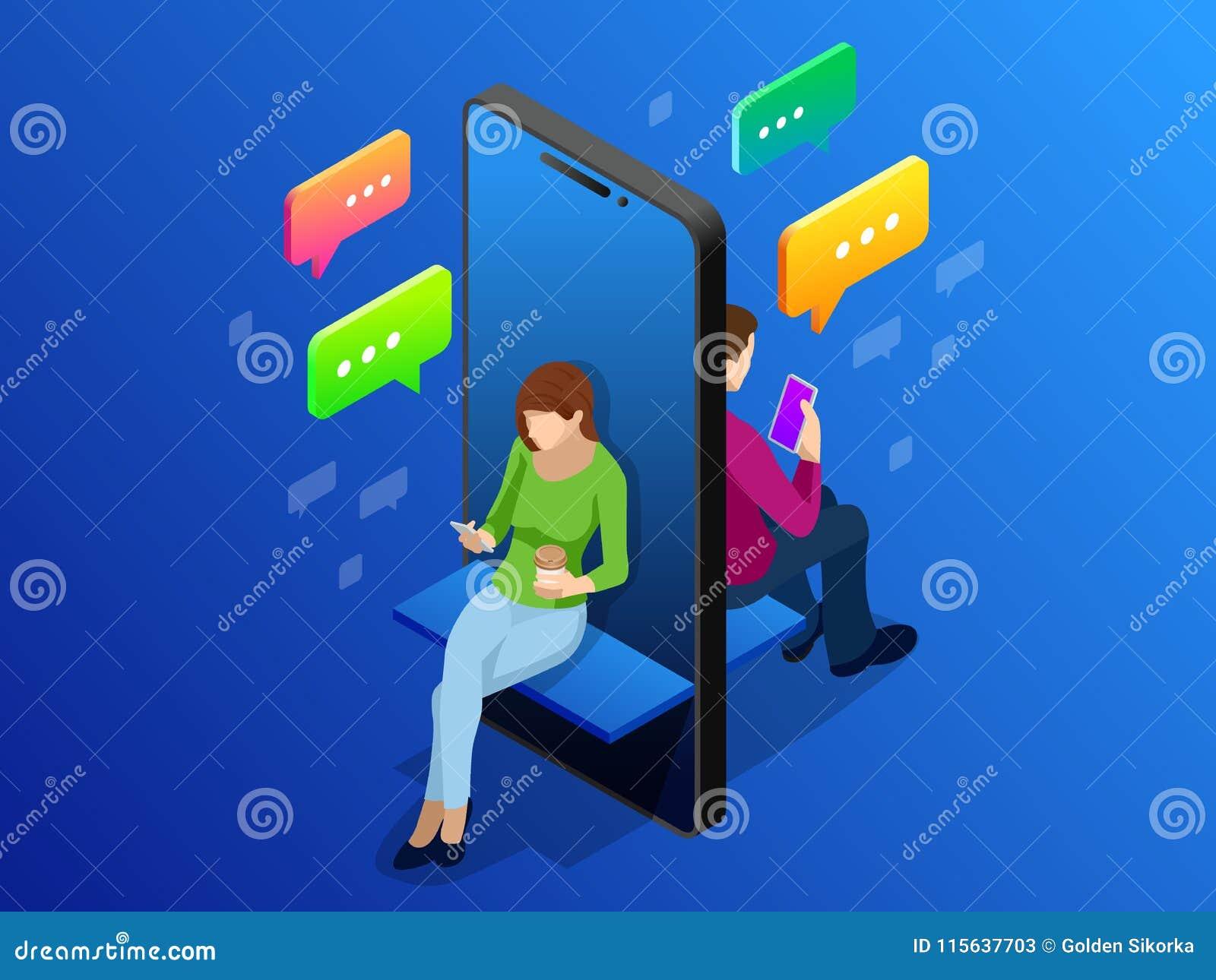 Datar em linha isométrico e conceito social dos trabalhos em rede Apego dos adolescentes às tendências de nova tecnologia Convers