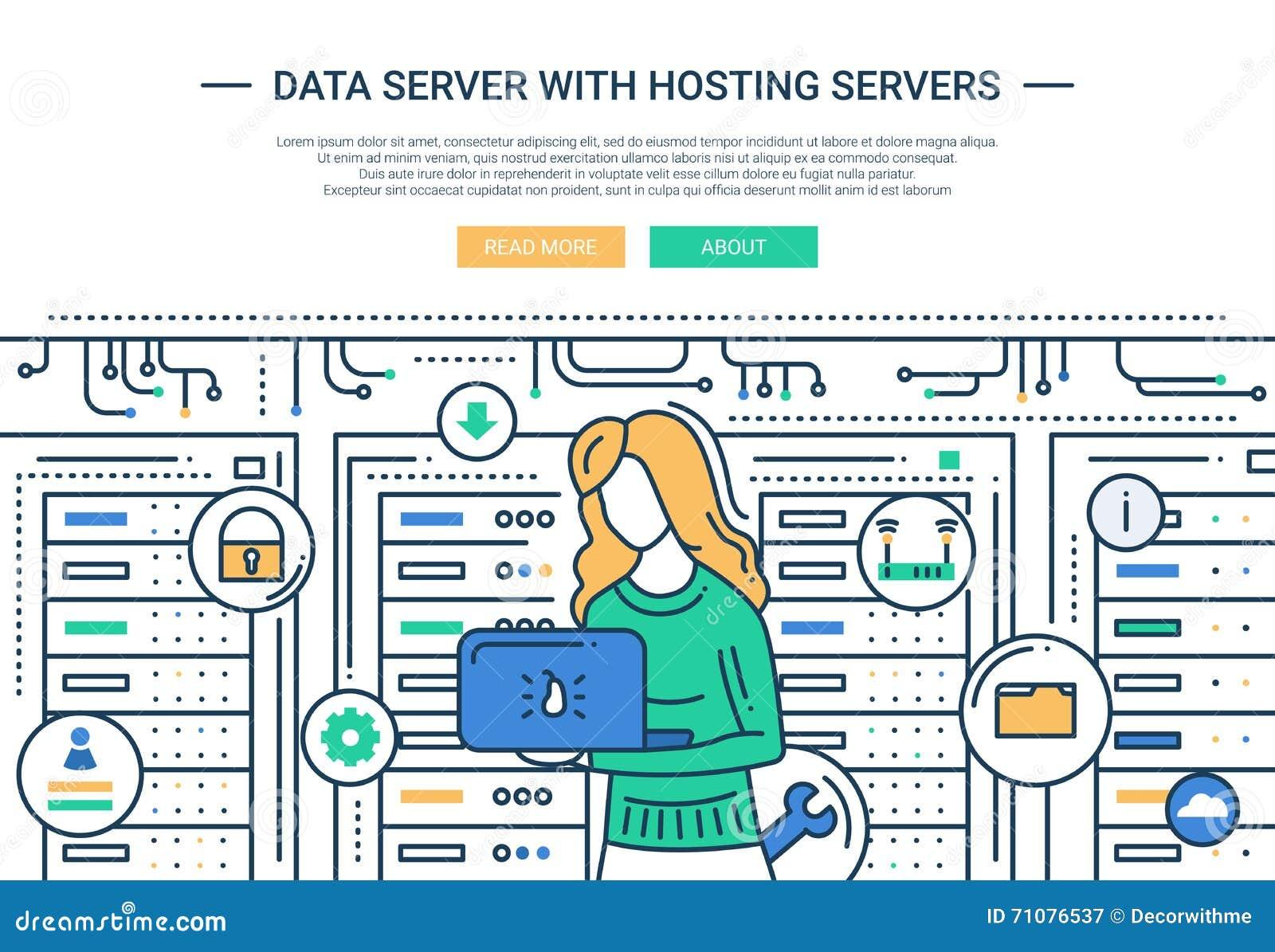 Dataserveren och att vara värd - fodra designwebsitetitelraden