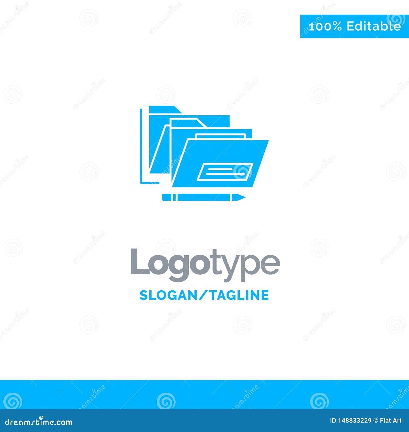 Datei, Ordner, Datum, sicherer blauer fester Logo Template Platz f?r Tagline