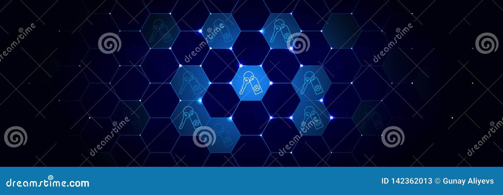 Daten, Schlüssel, Verschlüsselungsikone vom Projekt der allgemeinen Daten eingestellt in das technologische