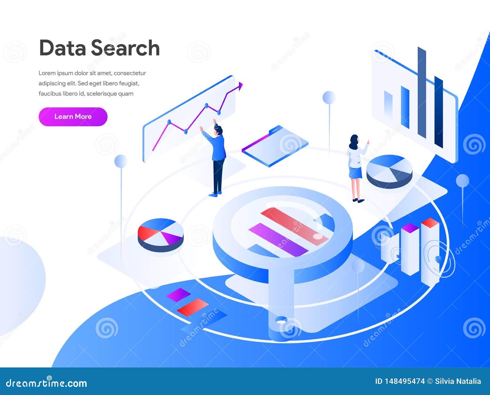 Daten suchen isometrisches Illustrations-Konzept r Vektor