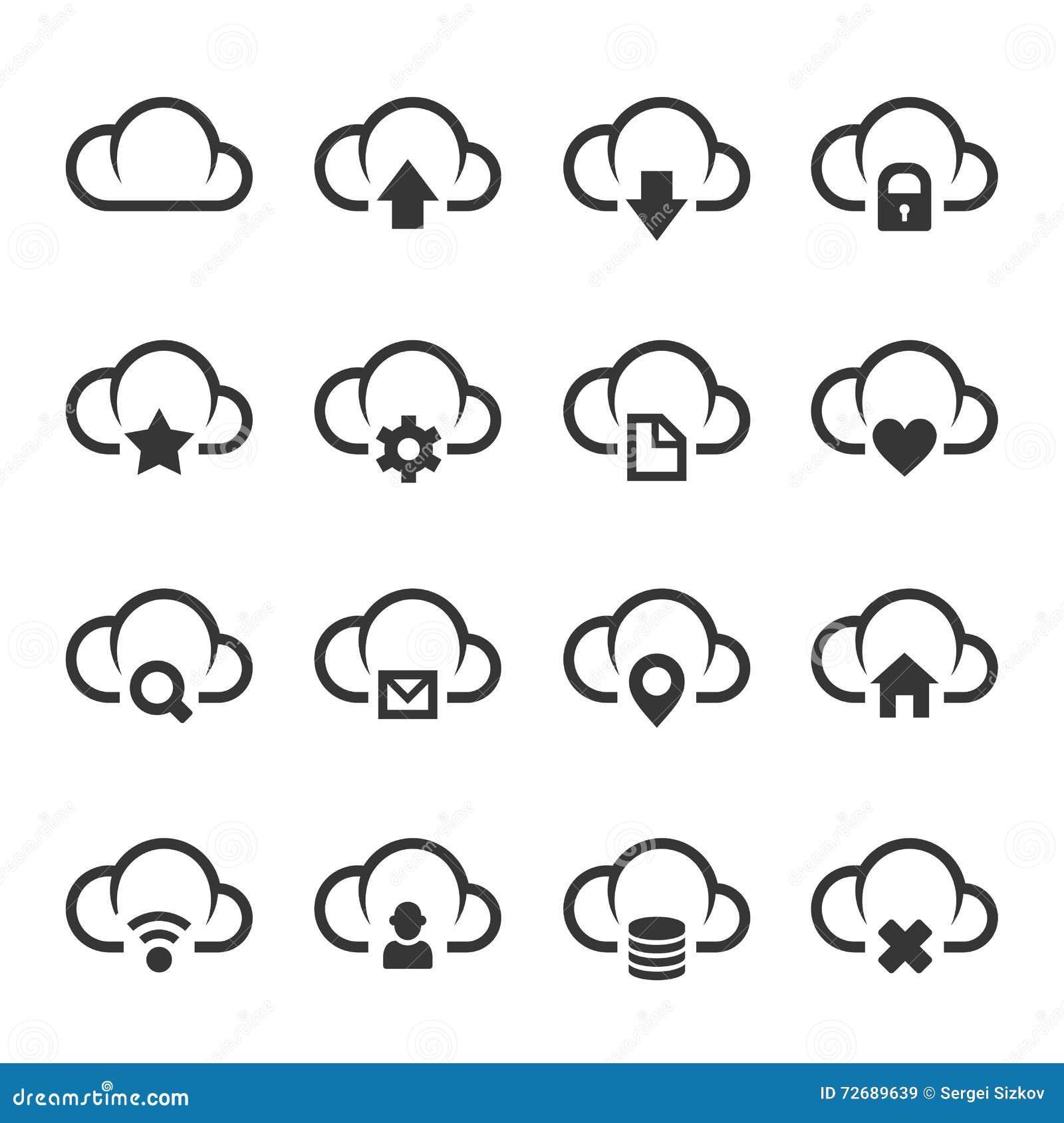 Daten-Wolke mit unterschiedlichem Zeichen-Ikonen-Satz Vektor